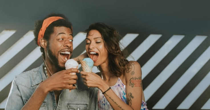 Couple eating icecream