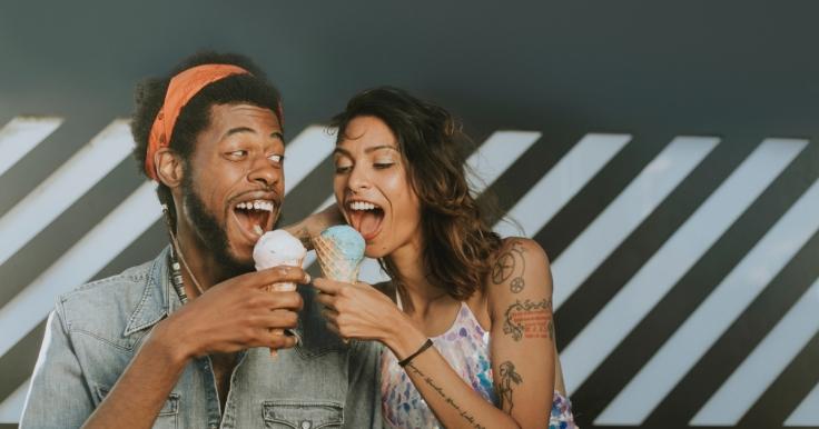 Couple eating icecream